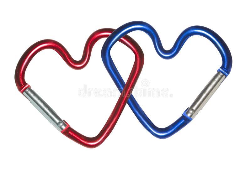 Dos carabinas de los corazones fotos de archivo libres de regalías