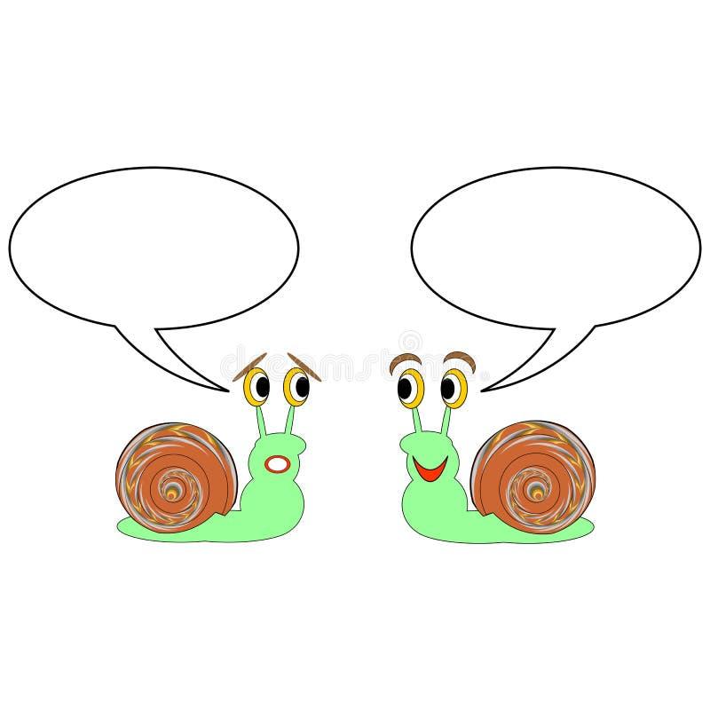 Dos caracoles divertidos de la historieta con las burbujas de la charla ilustración del vector