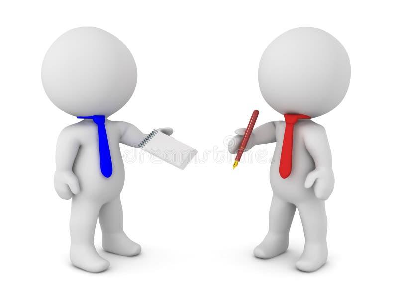 Dos caracteres 3D que llegan a un acuerdo escrito ilustración del vector