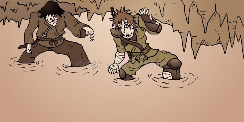 Dos caracteres en caverna del misterio libre illustration
