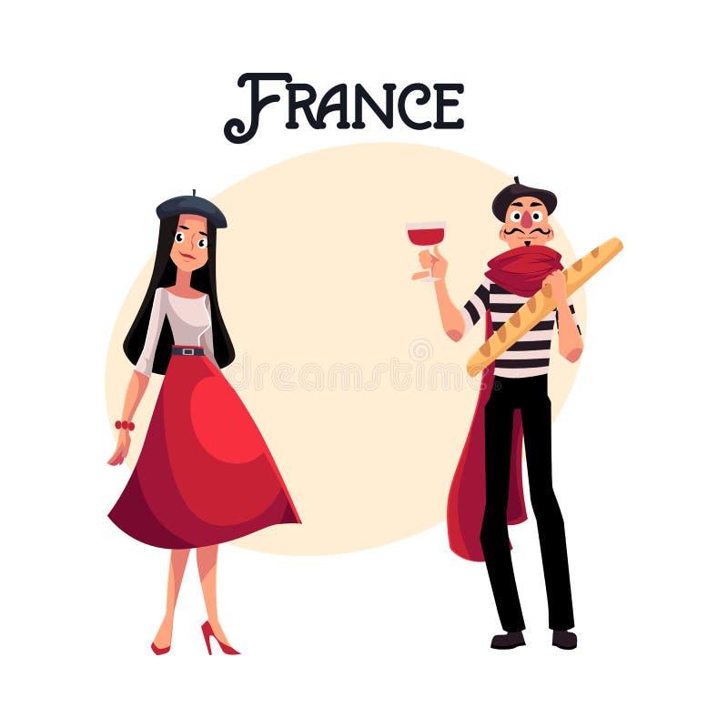Dos caracteres franceses, mujer vestida en estilo parisiense y imitan stock de ilustración