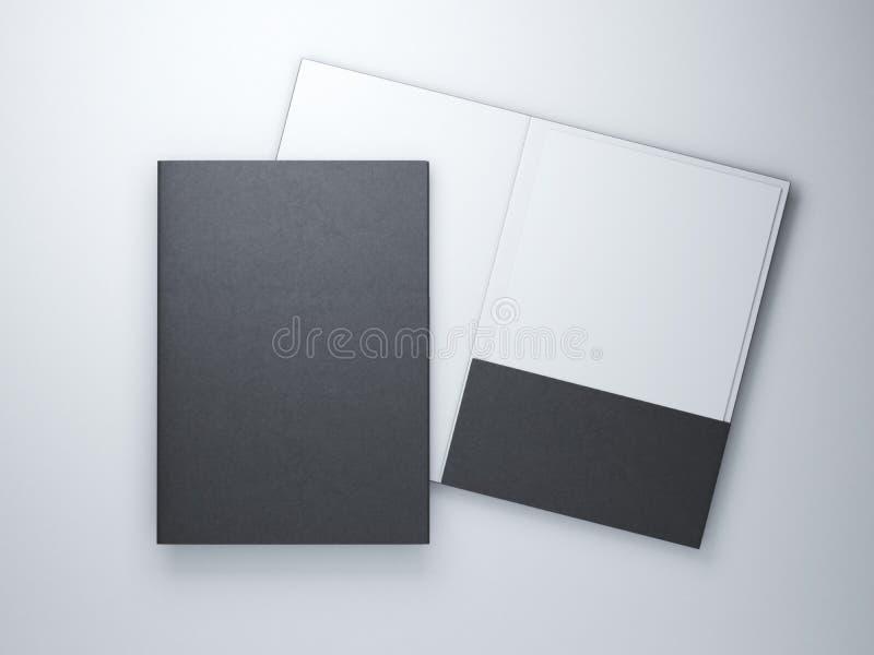 Dos carpetas negras en blanco fotografía de archivo