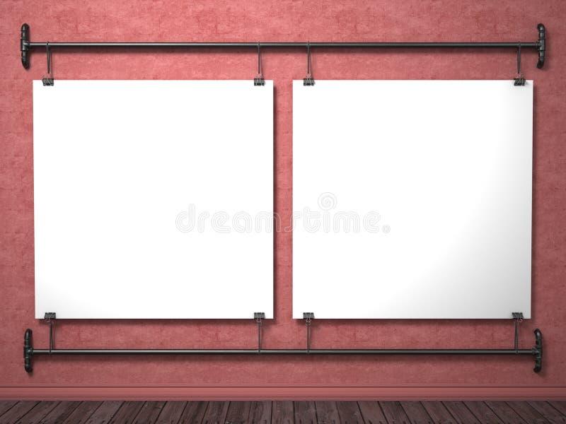 Dos carteles ascendentes falsos en el marco rojo de la pared y del tubo, 3D stock de ilustración
