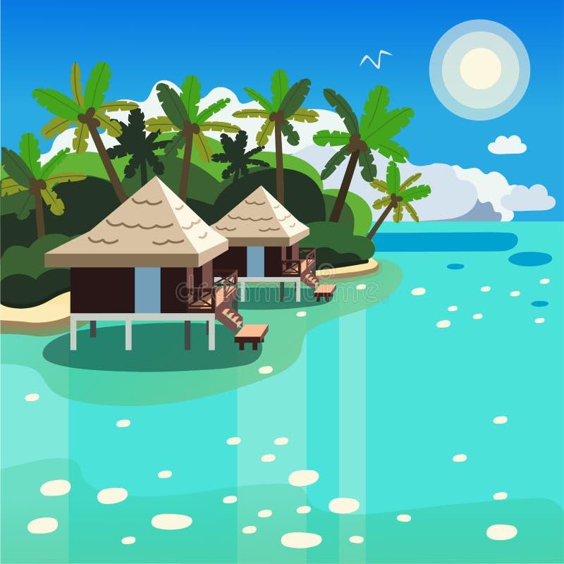 Dos casas de planta baja entre las palmeras en la imagen del vector de la costa ilustración del vector