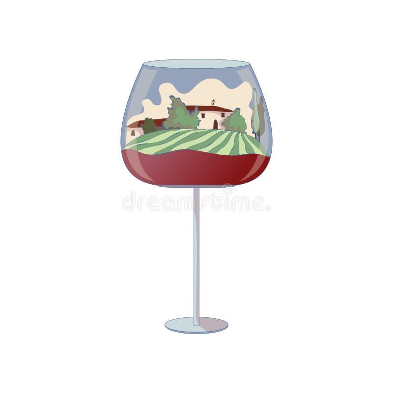 Dos casas dentro de una copa de vino Ilustraci?n del vector en el fondo blanco ilustración del vector