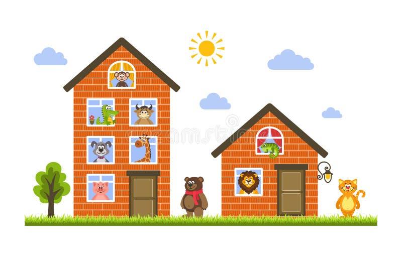 Dos casas en las cuales animales vivos: mono, cocodrilo, vaca, perro, jirafa, oso, gato, león, iguana y cerdo stock de ilustración