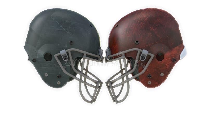 Dos cascos de fútbol americano stock de ilustración