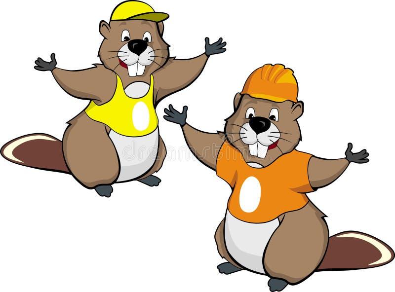 Dos castores de la historieta ilustración del vector