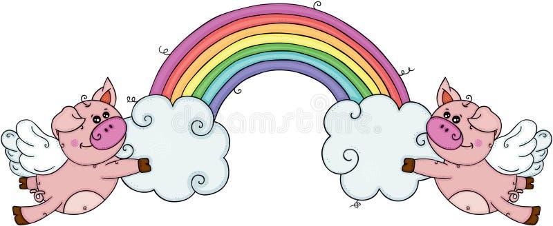 Dos cerdos con las alas que vuelan sosteniendo las nubes y el arco iris ilustración del vector