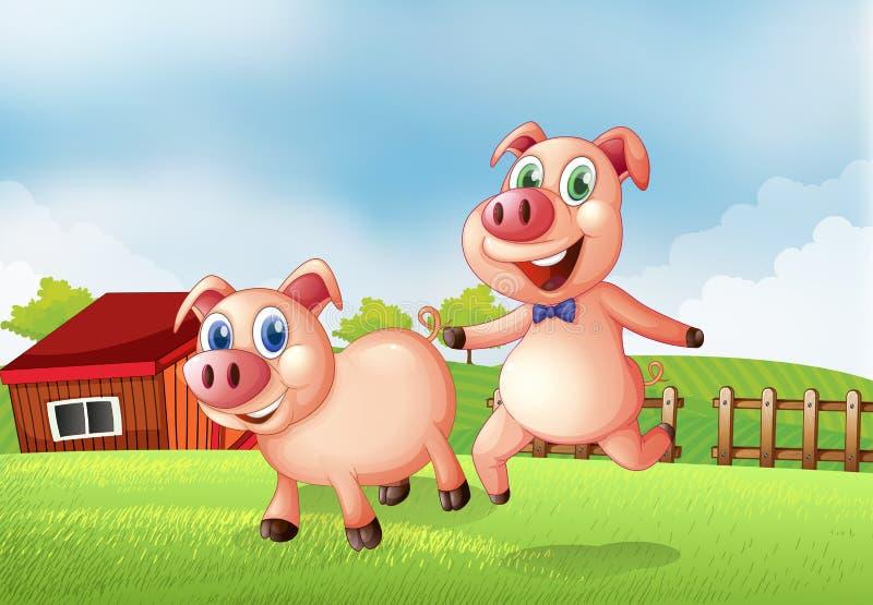 Dos cerdos en la granja stock de ilustración