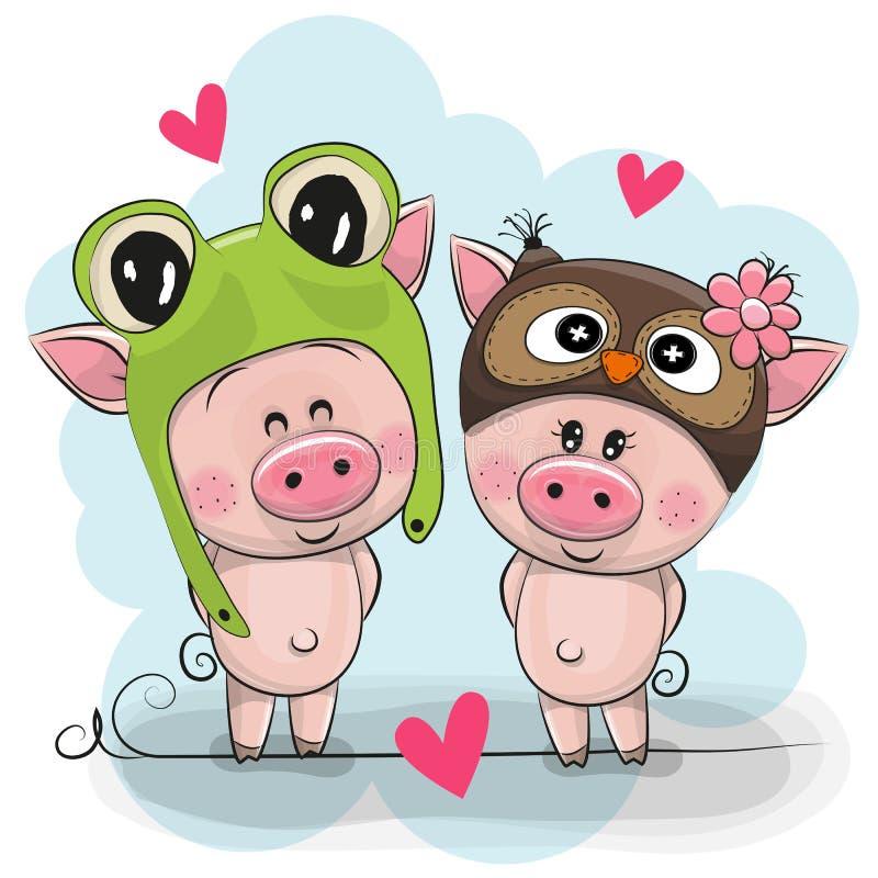 Dos cerdos lindos en un sombrero de la rana y del búho ilustración del vector