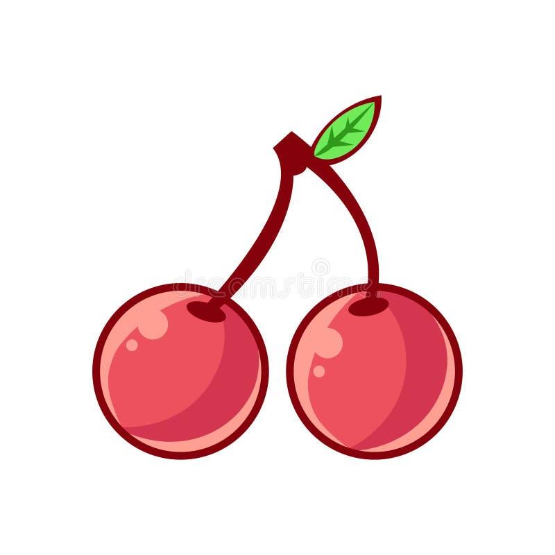 Dos cerezas con la hoja, el icono infantil aislado resumido del alimento para el diseño de juego de destello o la máquina tragape libre illustration