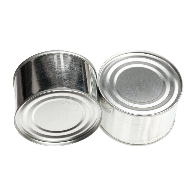 dos cerraron las latas de aluminio aisladas en blanco fotografía de archivo