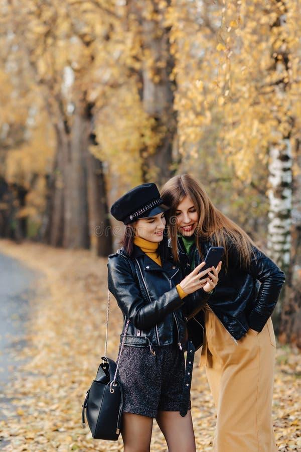 dos chicas jóvenes acogedoras caminan en el camino del parque del otoño para hacer las fotos imagenes de archivo