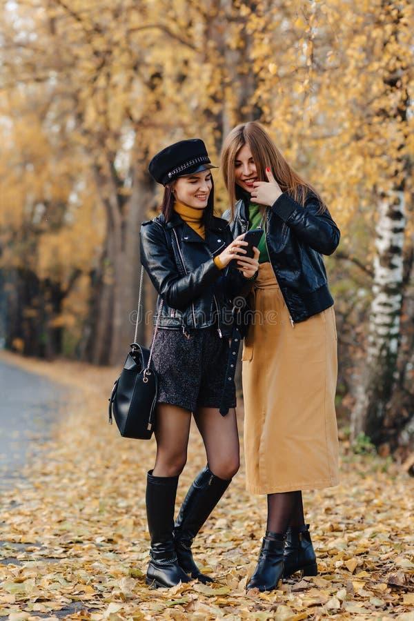 dos chicas jóvenes acogedoras caminan en el camino del parque del otoño para hacer las fotos imagen de archivo libre de regalías