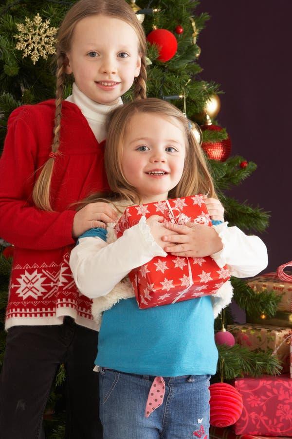 Dos chicas jóvenes con los presentes delante del árbol imagen de archivo