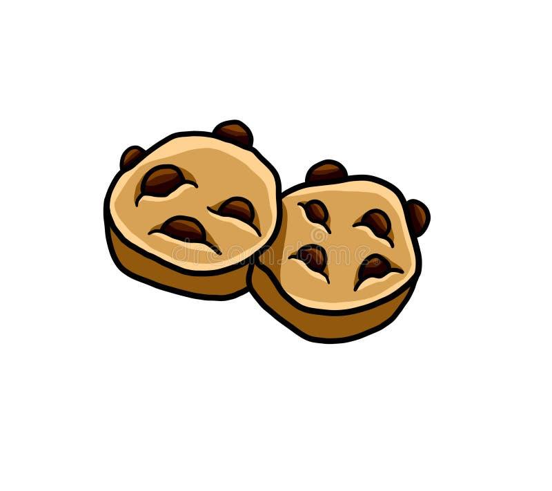 Dos chocolate delicioso Chip Cookies stock de ilustración