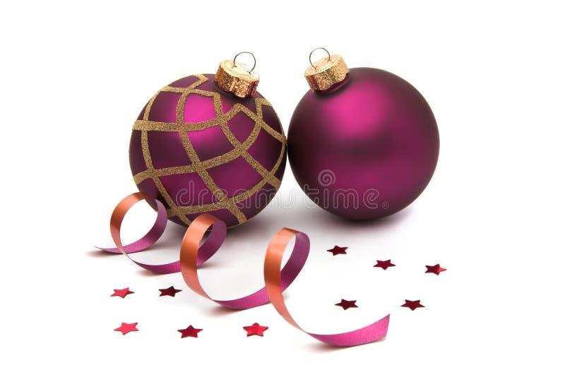 Dos chucherías de la Navidad aisladas fotografía de archivo libre de regalías