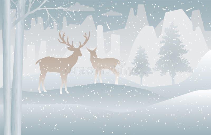 Dos ciervos en bosque con nieve en el invierno libre illustration
