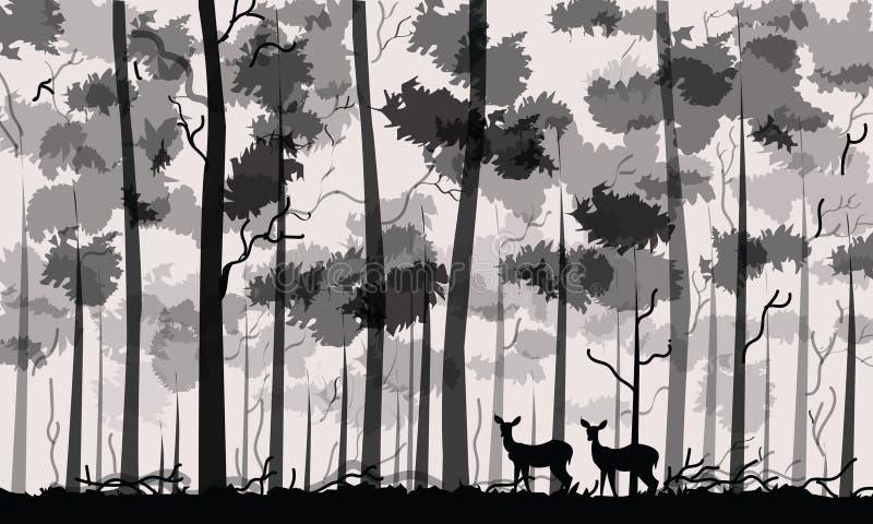 Dos ciervos en el bosque enorme ilustración del vector
