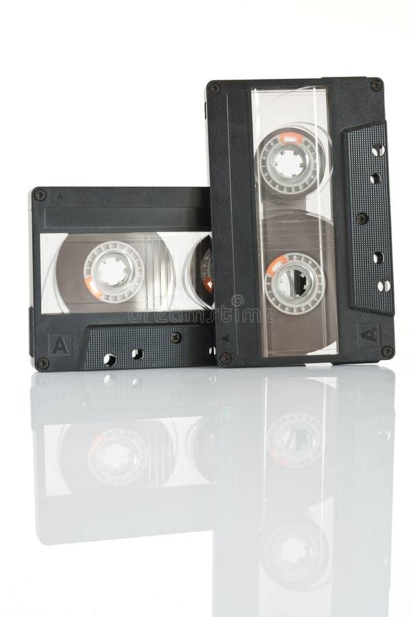 Dos cintas de cassette aisladas foto de archivo libre de regalías