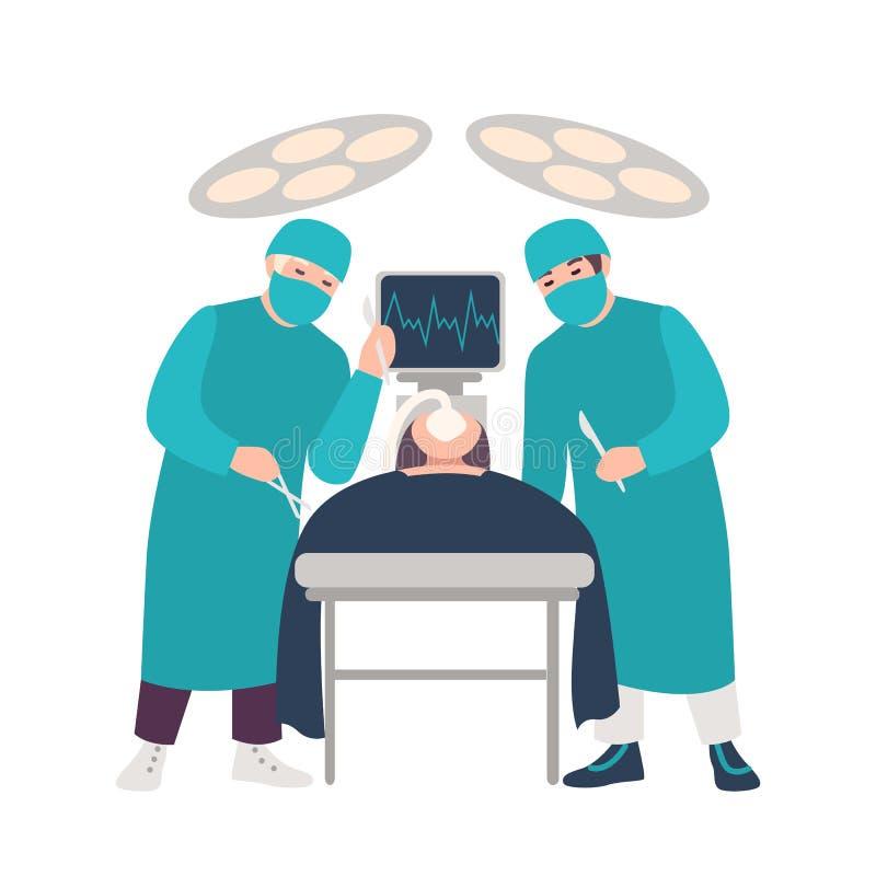 Dos cirujanos o médicos que sostienen los escalpelos que realizan la operación quirúrgica en el paciente de mentira aislado en el libre illustration