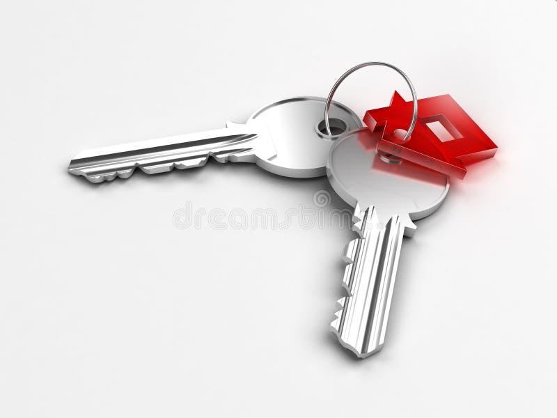 Dos claves de plata con la figura roja de la casa foto de archivo libre de regalías