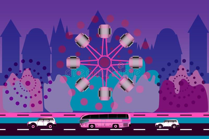 Dos coches, autobuses y norias en fondo de la ciudad ilustración del vector