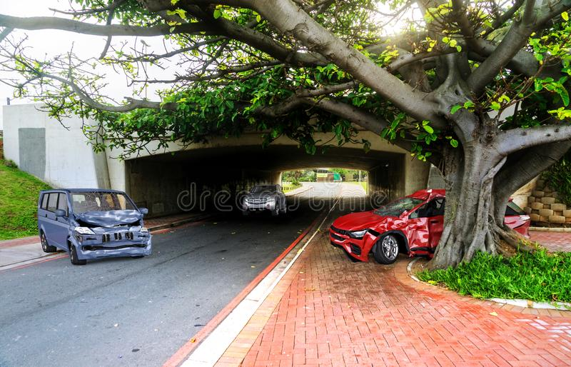 Dos coches estrellados en accidente En la ubicación imágenes de archivo libres de regalías
