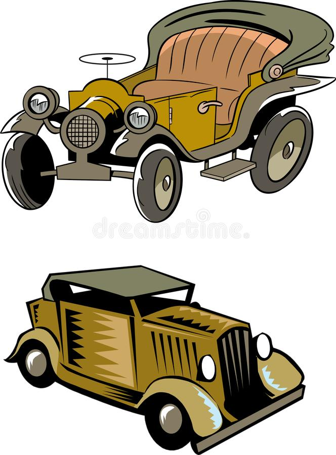 Dos coches retros de la historieta libre illustration