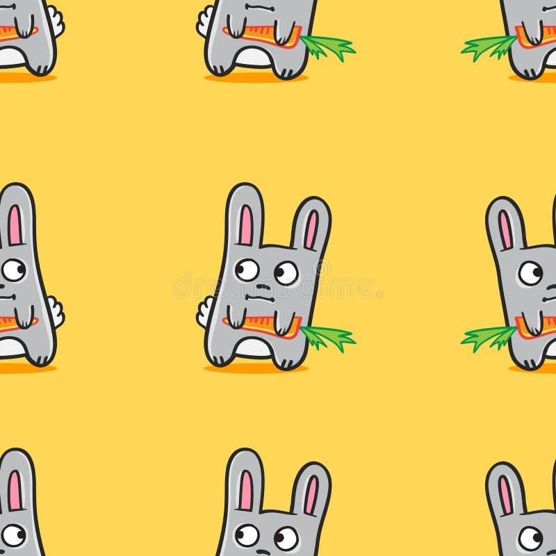 Dos coelhos engraçados dos desenhos animados do vetor teste padrão sem emenda ilustração stock