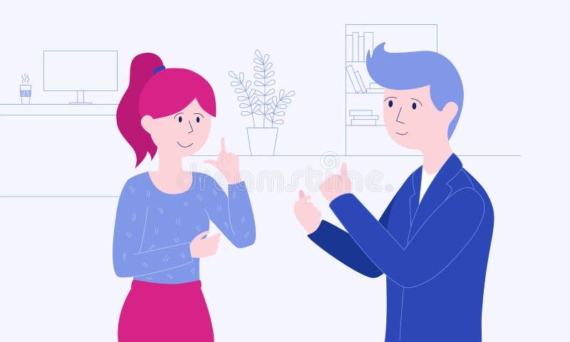 Dos colegas están hablando lenguaje de signos en allí lugar de trabajo stock de ilustración