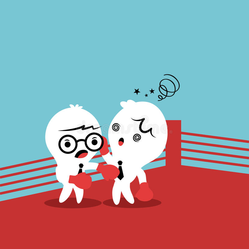 Dos colegas que luchan con uno a libre illustration