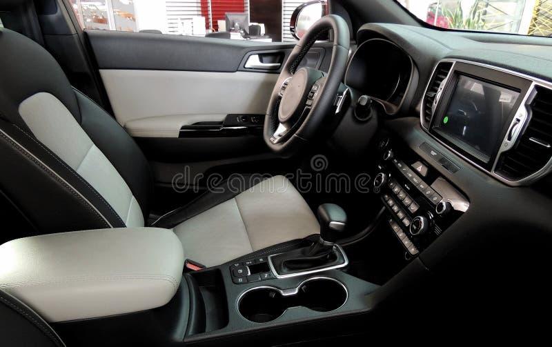 Dos colorearon los asientos de carro dentro del vehículo después de limpiar de los asientos fotos de archivo