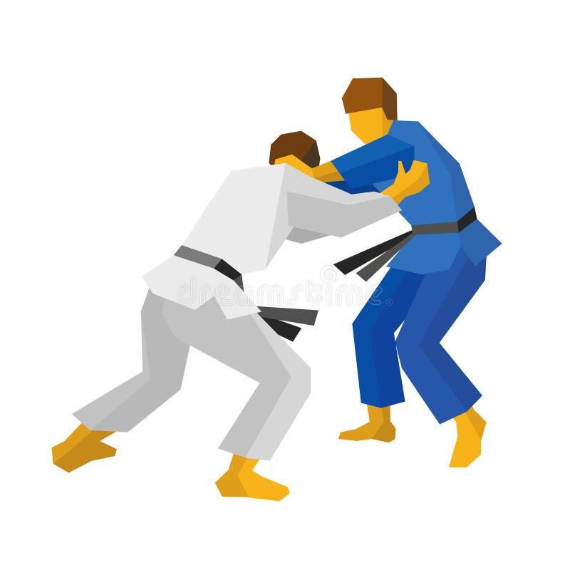 Dos combatientes del judo en colores azules y blancos niños chinos de KONGFU libre illustration