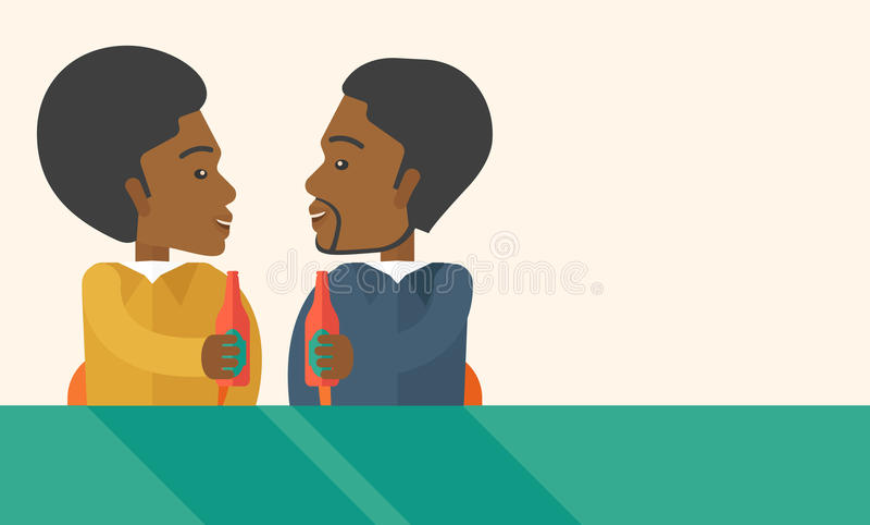 Dos compañeros de trabajo negros que comen cerveza de consumición de la diversión adentro ilustración del vector
