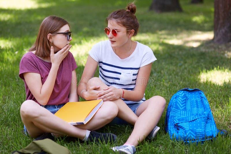 Dos compañeros femeninos miran uno a como tienen conversación, siéntese con las piernas cruzadas, discuten noticias en universida foto de archivo