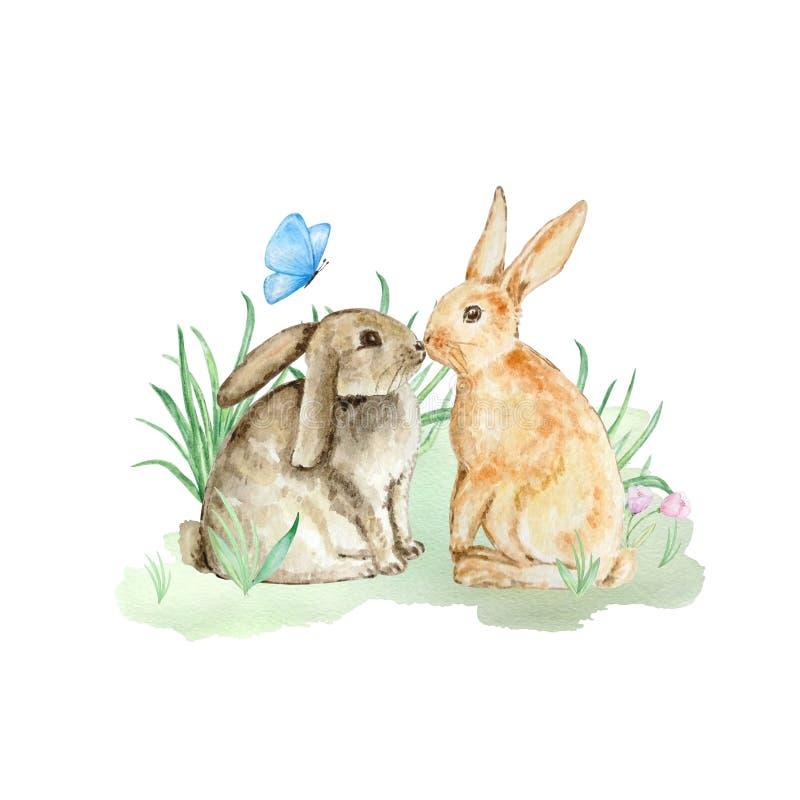 Dos conejitos lindos de la acuarela stock de ilustración