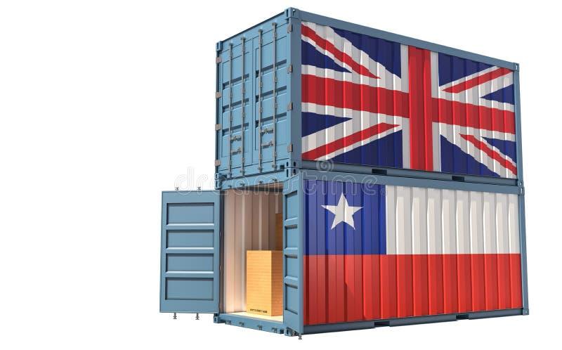 Dos contenedores de carga con pabellón de Chile y el Reino Unido Aislado en blanco libre illustration