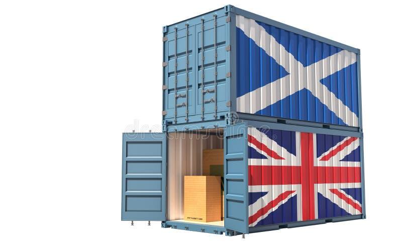 Dos contenedores de carga con pabellón de Escocia y el Reino Unido Aislado en blanco ilustración del vector