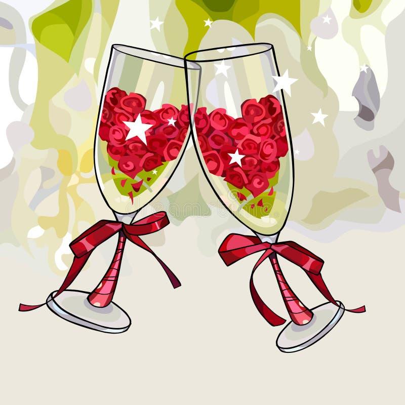 Dos copas de vino del aniversario de la historieta llenadas de tintineo de las flores ilustración del vector