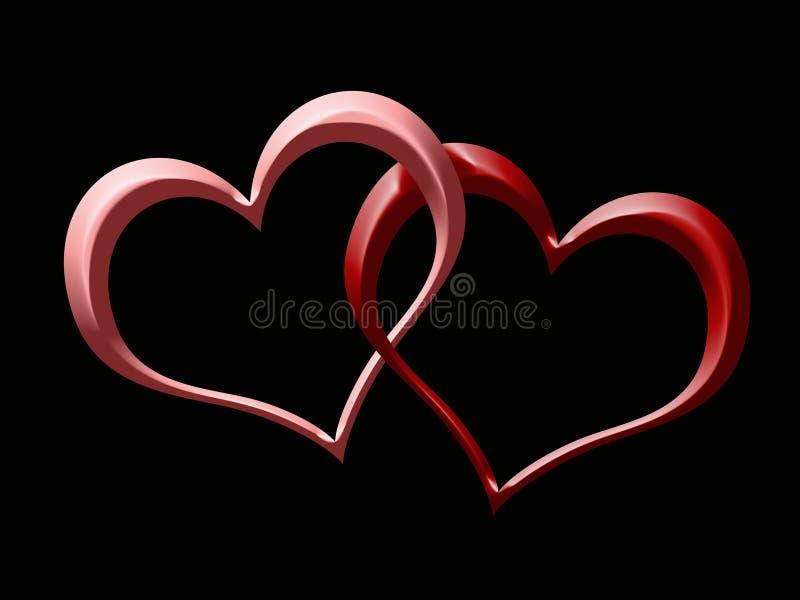 Dos corazones stock de ilustración