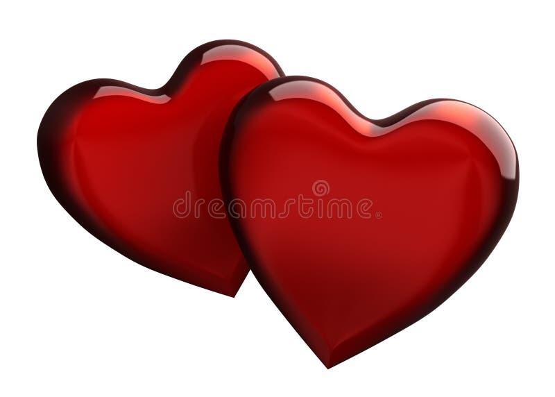 Dos corazones ilustración del vector