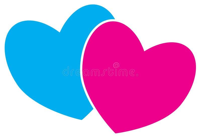 Dos corazones Concepto para el amor, pasión, tarjeta del día de San Valentín, libre illustration