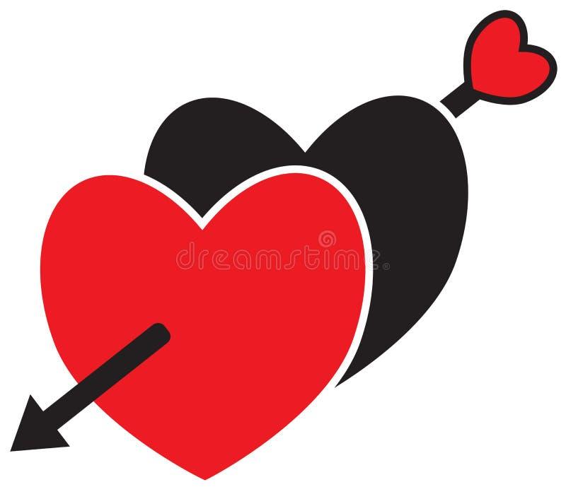 Dos corazones cruzaron con una flecha tirada por el cupido ilustración del vector