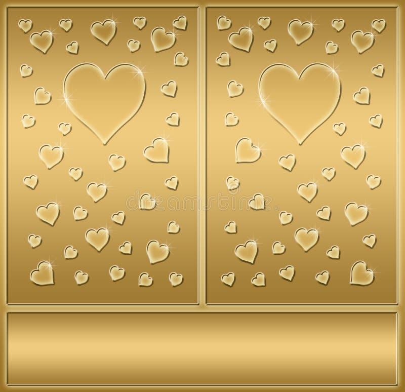 Dos corazones de las tarjetas del día de San Valentín del oro   ilustración del vector
