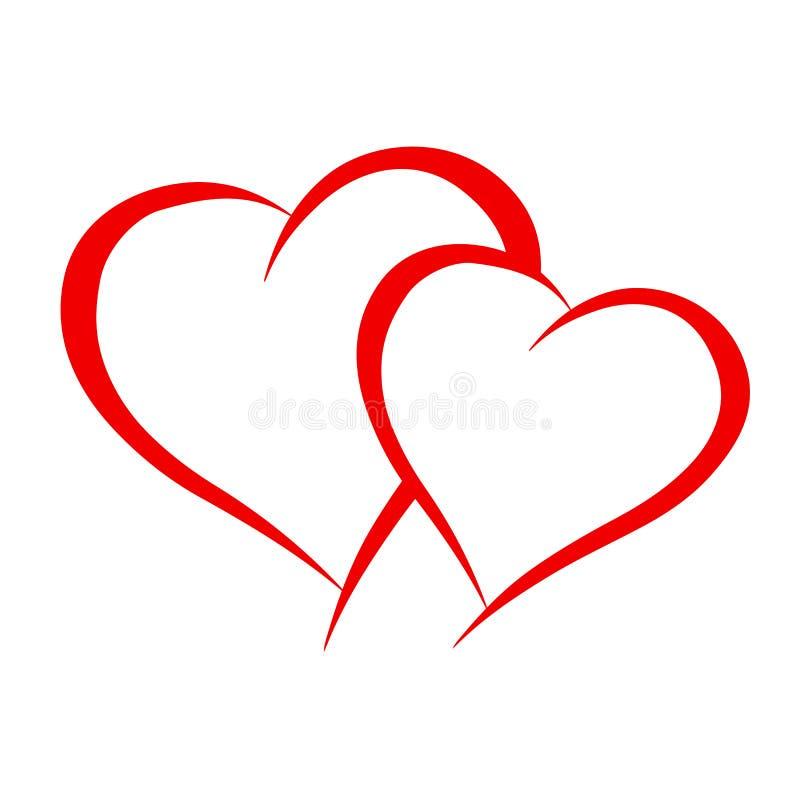 Dos corazones del amante - vector ilustración del vector