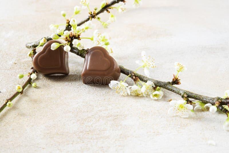 Dos corazones del chocolate y un flor ramifican para el ` s de la tarjeta del día de San Valentín o el mot fotografía de archivo