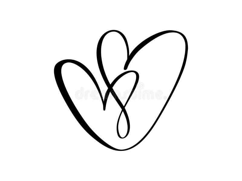 Dos corazones del negro del vector firman Icono en el fondo blanco El símbolo romántico del ejemplo ligado, se une a, amor, pasió libre illustration