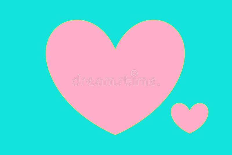 Dos corazones del rosa pequeños y grandes en un fondo de la menta stock de ilustración